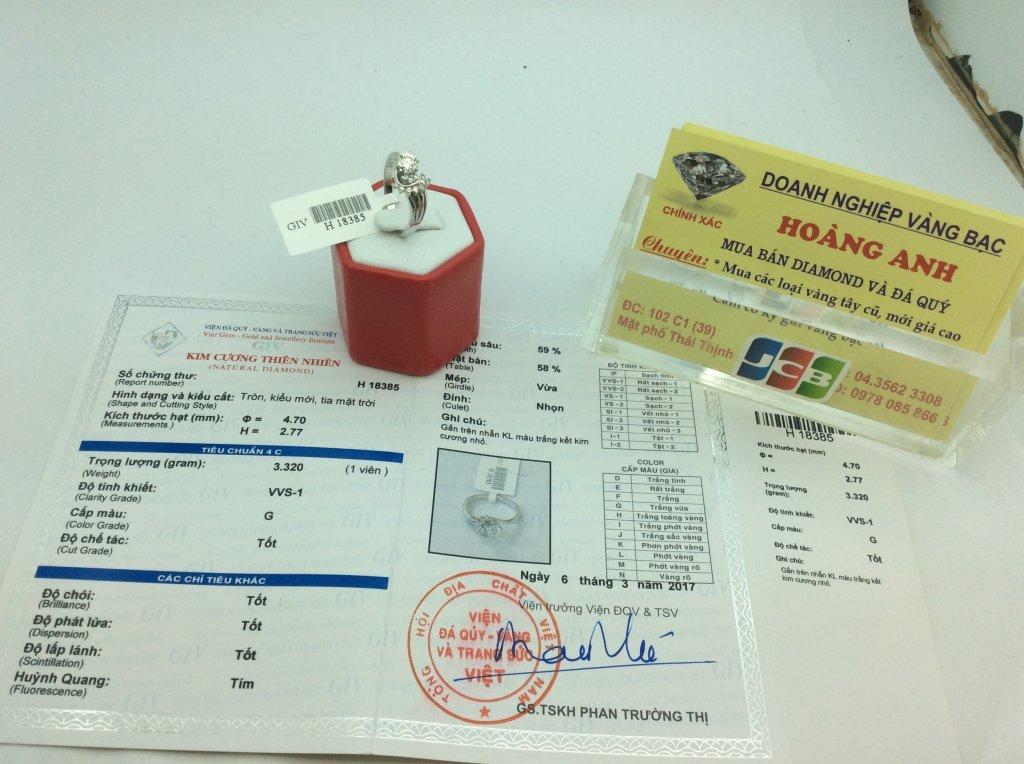 Nhẫn Nữ vàng trắng 14k gắn kim cương thiên nhiên viên chủ 4,70 ly kiểm định H 18385