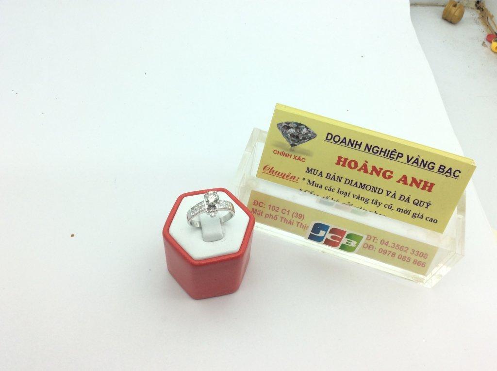 Nhẫn Nữ vàng trắng 14k 5ly36 Diamond ổ ngoại H10134