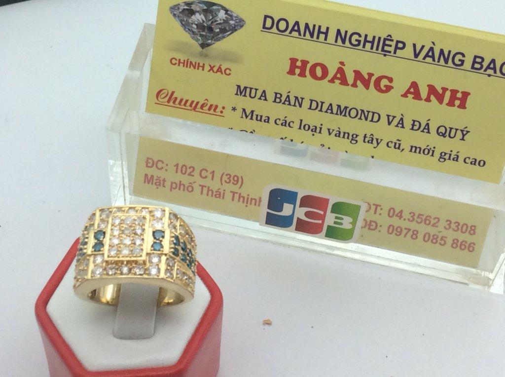 Nhẫn Nam 14k Gold Diamond Blue Ring for Men Ổ ngoại đính 66 viên kim cương Thiên Nhiên H10120