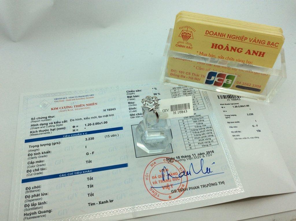 Thanh lý  Nhẫn Nữ vàng trắng 18k ổ ngoại kiểm định H 16843