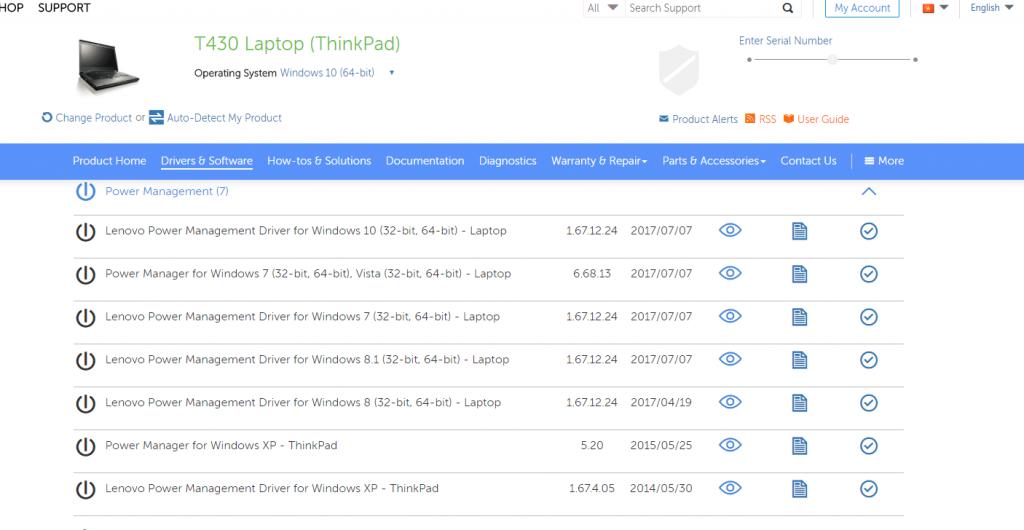 Cần hỗ trợ cài power manager trên lenovo thinkpad t430 win 10 64b