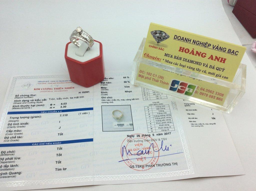 Nhẫn Nữ VIP 14k 5ly09 Diamond ổ ngoại có kiểm định  H19391